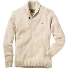Sweter z szalowym kołnierzem bonprix naturalny melanż