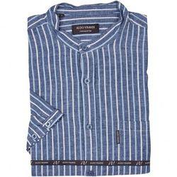 Niebieska koszula lniana na stójce w jasne paski z krótkim rękawem
