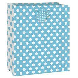 Torebka prezentowa błękitna w białe kropeczki 32x27 cm - 1 szt.