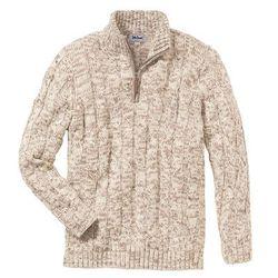 Sweter ze stójką bonprix beżowy melanż