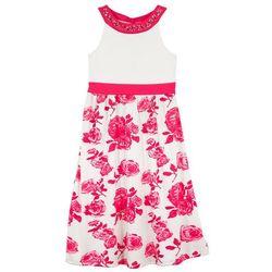 Długa sukienka dziewczęca na uroczyste okazje bonprix biel wełny - różowy hibiskus