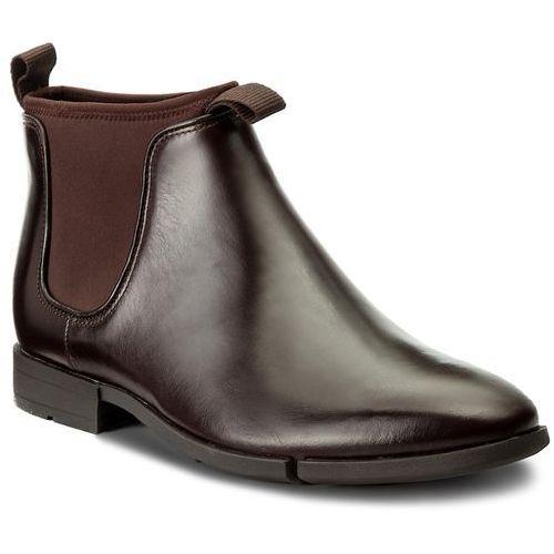 Kozaki męskie, Sztyblety CLARKS - Daulton Up 261268807 Dark Brown Leather