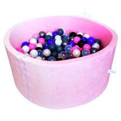 Suchy basen z piłeczkami dla dzieci BabyBall pudrowy róż - velur