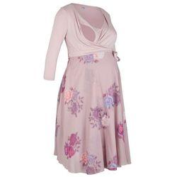 Sukienka shirtowa ciążowa i do karmienia piersią, kopertowa bonprix matowy jasnoróżowy