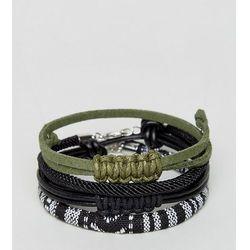 ASOS PLUS Woven Bracelet Pack In Black With Khaki - Black
