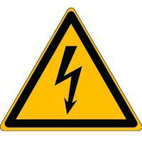 Pozostała odzież robocza i BHP, Oznaczenie: uwaga, zagrożenie prądem elektrycznym, samoprzylepny poliester, 500 mm