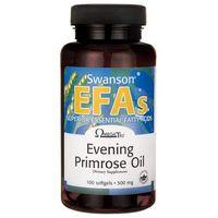 Preparaty ziołowe, Olej z wiesiołka dwuletniego Evening Primrose Oil EFAs 500mg 100 kapsułek Swanson