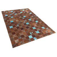 Dywany, Dywan - brązowo-niebieski - skóra - patchwork - 160x230 cm - ALIAGA