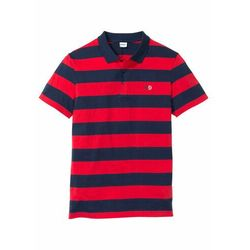 Shirt polo z małym haftem, krótki rękaw bonprix ciemnoniebiesko-czerwony w paski
