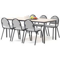 Meble do restauracji i kawiarni, Zestaw mebli do stołówki, stół 1800x800 mm, brzoza + 6 krzeseł, szary/czarny