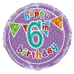 Balon foliowy Happy Birthday na 6 urodziny - 47 cm
