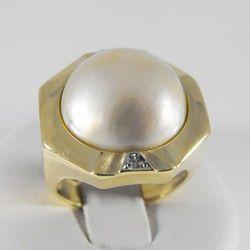 Złoty pierścionek z diamentami P1145