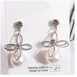 Kolczyki duża perła 1 cm kwiat srebrne - SREBRNE