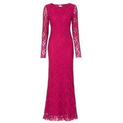 Długa sukienka koronkowa bonprix czerwono-czarny