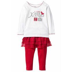 Shirt niemowlęcy bożonarodzeniowy + legginsy z tiulową wstawką (2 części), bawełna organiczna bonprix biel wełny - czerwony