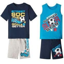 Koszulka chłopięca + koszulka bez rękawów + bermudy (4 części) bonprix ciemnoniebiesko-turkusowo-szary z nadrukiem