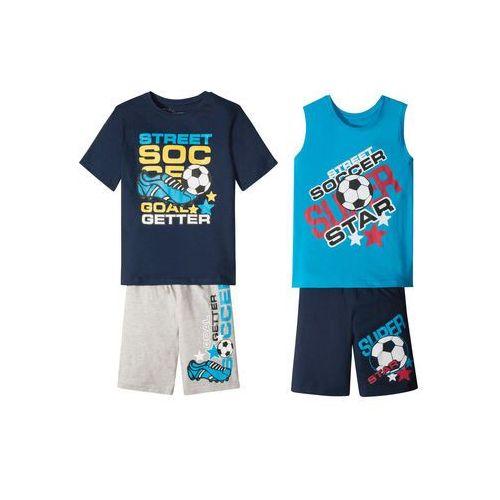 Pozostała odzież dziecięca, Koszulka chłopięca + koszulka bez rękawów + bermudy (4 części) bonprix ciemnoniebiesko-turkusowo-szary z nadrukiem
