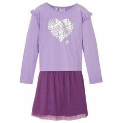 Shirt dziewczęcy + spódnica (2 części) bonprix kolor bzu - głęboki fioletowy