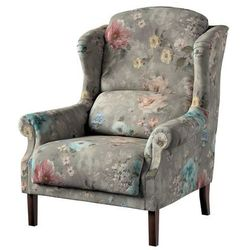 Dekoria Fotel Unique, niebieskie i różowe kwiaty na szarym tle, 85×107cm, Monet