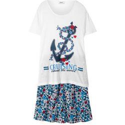T-shirt + spódniczka z falbanami (2 części) bonprix biało-ciemnoniebieski