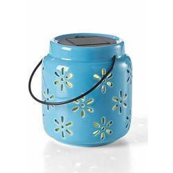 Lampion z diodą solarną LED i wycinanym wzorem w kwiaty bonprix jasnoniebieski