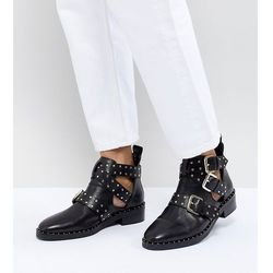 ASOS DESIGN Aries Leather Studded Ankle Boots - Black