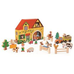 Kolejka drewniana Janod zestaw 54 części - Farma J08525