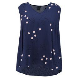 ADIA TOP VNECK WITH OUT SLEEVES PRINT WITH ROSE DOTS Bluzka blue cameo