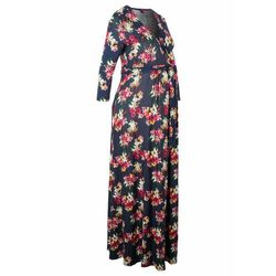 Sukienka shirtowa ciążowa i do karmienia piersią bonprix niebieski w kwiaty