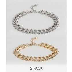ASOS Bracelet Pack With Gold And Silver Midweight Chains - Multi