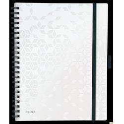 Kołonotatnik z 3 zakładkami BE MOBILE Leitz WOW A4, w kratkę, biały