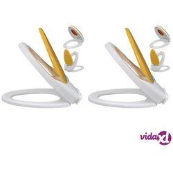 vidaXL Deski sedesowe wolnoopadające, 2 szt., plastikowe, biało-żółte Darmowa wysyłka i zwroty