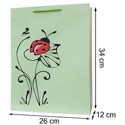 Torebka ozdobna prezentowa ręcznie malowana 34x26 - biedronka