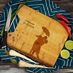 Deszczowa Piosenka - deska do krojenia z grawerem - Deska bambusowa