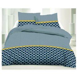 Pościel 100% bawełny LAURIS - 220x240 cm + 2 poszewki na poduszkę 65 x 65 - Kolor niebieski i żółty