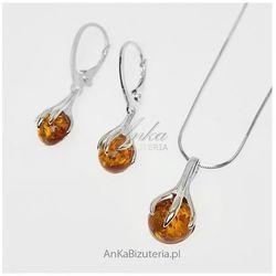 ankabizuteria.pl Komplet - złote kule w objęciach - srebro i bursztyn naturalny.