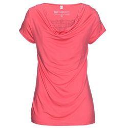 Shirt z założeniem kopertowym, długi rękaw bonprix czerwony klonowy