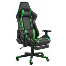 Czarno-zielony fotel do gier z podnóżkiem - Epic Gamer