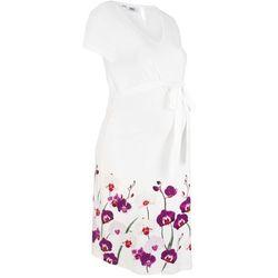 Sukienka ciążowa z dżerseju bonprix biel wełny z kwiatowym nadrukiem
