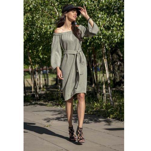 Suknie i sukienki, Oliwkowa Casualowa Sukienka z Dekoltem Carmen Przewiązana Paskiem