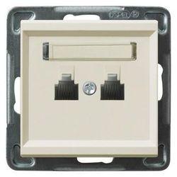 Gniazdo telefoniczne Ospel Sonata GPT-2RR/m/27 podwójne równoległe ecru