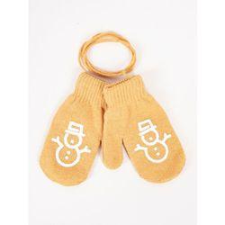 Rękawiczki dziecięce jednopalczaste ze sznurkiem musztardowe z bałwankiem 12