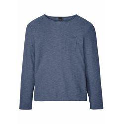 Sweter z kieszonką na wys. piersi i wywiniętymi brzegami bonprix indygo + pudrowy niebieski