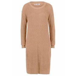 Sukienka dzianinowa oversized w prążek, z rozcięciem bonprix wielbłądzia wełna