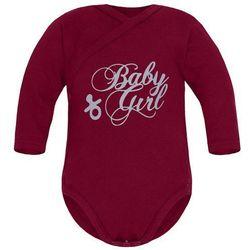 Niemowlęce body KOPERTOWE długi rękaw Bordowe - Baby Girl
