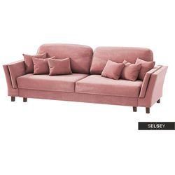 SELSEY Kanapa rozkładana trzyosobowa Macery różowy velvet