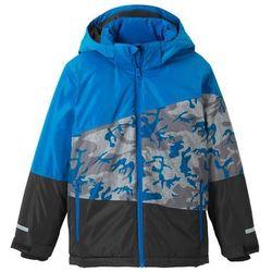 Kurtka chłopięca narciarska nieprzemakalna i wiatroszczelna bonprix niebiesko-czarny moro
