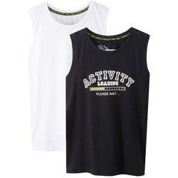 Koszulka bez rękawów (2 szt.) bonprix czarno-biały z nadrukiem