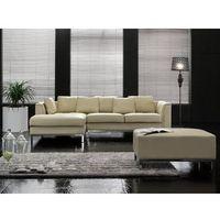 Narożniki, Sofa narożna P - skórzana - beżowa - sofa z pufą - kanapa OSLO