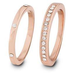 Komplet 2 pierścionków z kryształami Swarovskiego® bonprix kolor czerwonego złota